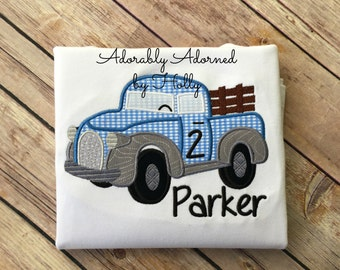 Personalized Little Blue Truck Inspired Birthday Shirt
