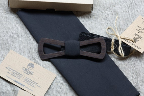 FREE SHIPPING!!! Wooden bowtie black wood   + pocket square. Man wood bowtie. Men Accessories. 100% hand made. Best xmas / birthday gift.