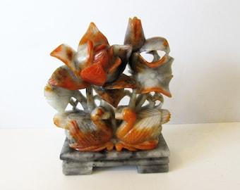 Carved Soapstone Pair Of Ducks & Flowers, On Soapstone Plinth  / MEMsArtShop.