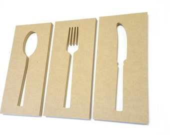 DIY Kitchen Art Cut Out Fork Spoon Knife Discount Unfinished Ready To Paint