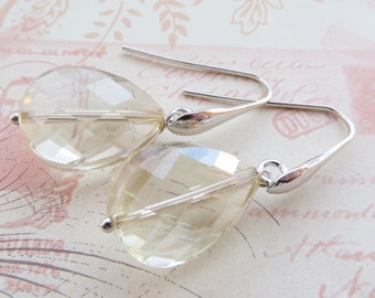 Yellow citrine earrings, drop earrings, champagne crystal earrings, dangle earrings, sterling silver 925, wedding jewelry, christmas gift