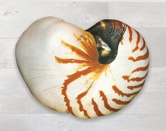 Shell Pillow - Nautical Pillow - Sea Shell - Beach Pillow - Nautilus Shell