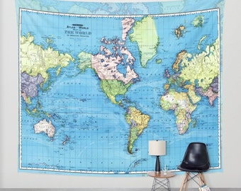 World Map Tapestry Wall hanging - vintage mercator map, blue, green, yellow, beautiful map, travel decor, wall decor den, bedroom, library