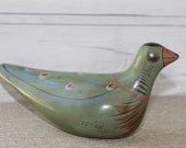 Vintage Mexican Clay Pottery Bird, Vintage Mexican Folk Art Pottery, Hand Painted Clay Bird, Vintage Pottery Bird