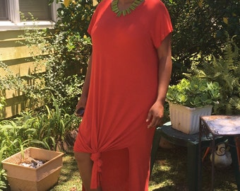 Red Oversized  T-shirt Dress with splits