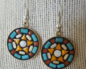 Lg round mosaic earrings