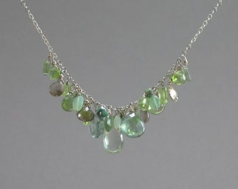 Mixed Green Stone Necklace