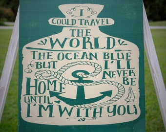 I could travel the world and ocean blue but I will never be home till I'm with you sign