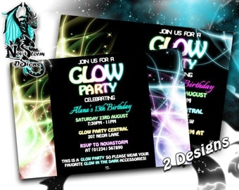Glow Party invitations - Glow Party - Dance Party - Neon Party - Self Print (Digital File)