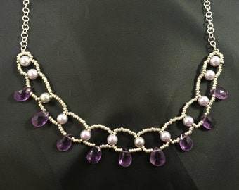 Silver Purple Amethyst Gemstone Drop Glass Pearl Beaded Chain Toggle Clasp Necklace
