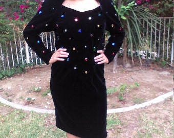 Chetta B,Black velvet dress,colored rhinestones,size 10, 10