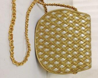 Saddle River, Saddle bag, Purse ,Woven bag,bags,purses, Gold, Silver, Shoulder Bag,Faux leather