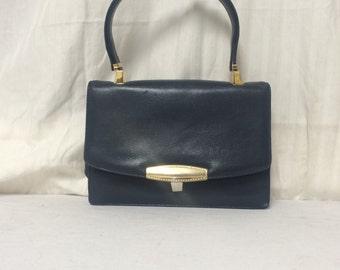 Koret,leather purse, dark blue, leather purse ,60's,1960s, handbag,purses,top handle