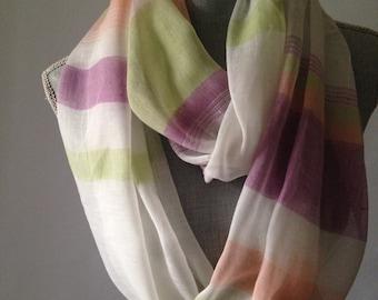 infinity scarf, linen print scarf, lightweight scarf, summer scarf, lavender scarf, women scarfs, linen