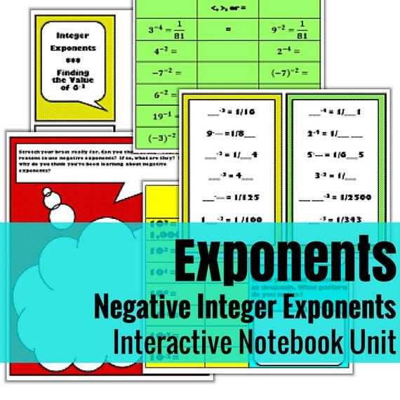 Negative Exponents Interactive Math Unit