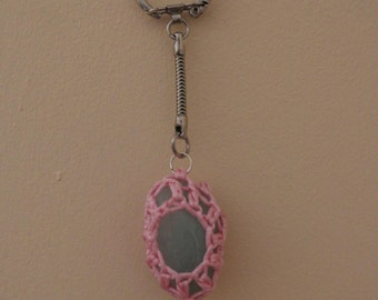 Crochet wrapped crystal keyring