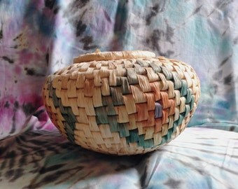 Vintage Handwoven Multi-colored Basket