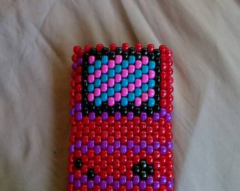 """Red """"gameboy"""" bead phone accessory bag case"""