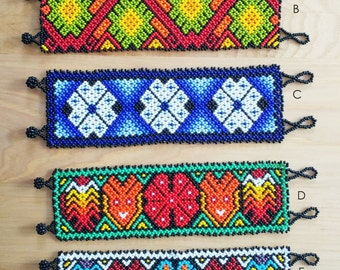 Huichol Beaded Bracelets - Jewelry - Huichol art - Romea Accessories - Handmade - Chaquiras  - Geometric