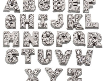 Rubyca Mix Floating Charms for Living Memory Lockets Alphabet Crystal Silver Collection Letters A to Z Free Shipping #L-Fltchr-Mix3