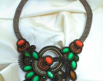 Soutache autumn necklace
