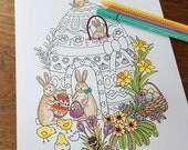Easter Decorations, Easter Colouring, Easter Bunny, Easter Eggs, Easter Gift, Easter Chick, Coloring Pages, Whimsical Art, Cute, Bunny House