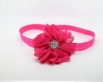 Hot Pink Headband, Hot Pink Flower Girl Headband, Hot Pink Birthday Headband, Hot Pink Baby Headband, Pink headband, Hot Pink Clip