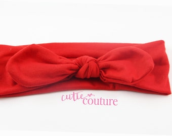 Red Headband, Red Knotted Headband, Knotted Headband, Fabric Knotted Headband, Baby headband, Baby Shower Gift, One Size Fits Most