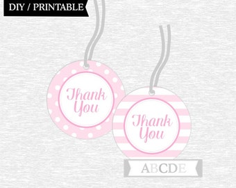 Instant Download Polka Dots Stripes Pink Thank You tags, Pink Favor tags, Baby shower DIY Printable (PDEE001)