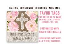 Baptism favor tags, printable favor tags, thank you tags, Christening favors, 1st Communion, recuerdos bautizo, burlap lace favor tags, pink