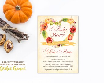 unique baby shower invitations, whimsical baby sprinkle invitations, fall baby shower invites, Autumn Baby Shower invitations, PRINT AT HOME