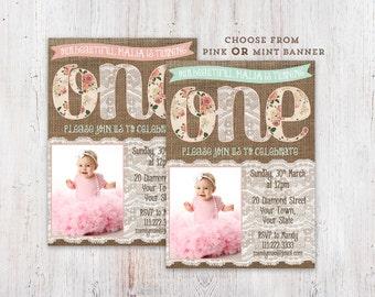burlap photo invite, first birthday invitations, 1st birthday invitation, baby girl invite, pink mint lace invite, digital invitation