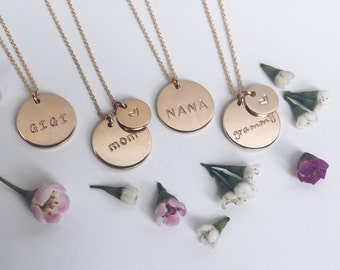 Mother's Necklace / Gold Personalized Charm Necklace / Gold, Silver, or Rose