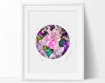 Earth Watercolor Print, Minimalist Circle Girl Nursery Art Print, Modern Contemporary Home Decor, Geometric Wall Art, Not Framed, No. 170-1