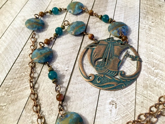 Aqua copper sail boat necklace gold stone beaded necklace teal and copper ocean sea jewelry sailing necklace long statement necklace upcycle