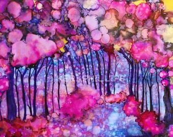 Pink Enchanted Forest Alcohol Ink Print, Fantasy Landscape, Fantasy Forest Print, Alcohol Ink Trees, Pink Art, Wall Art, Home Decor, Art