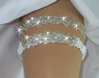 Garter, Wedding Garter Set, Bridal Garter Belts, Bling Garter, Wedding Lingerie, Rhinestone Garter, Wedding Dress, Garder, Bridal Garter Set