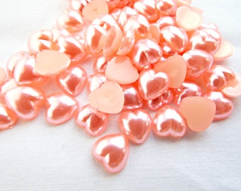 100 Heart Cabochons, 10mm Pink Cabochons, Resin Cabochon Heart, Pink Resin Heart, Pink Heart, Kawaii Cabochon, Decoden Supplies, UK Seller