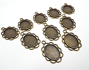 10 Cabochon Settings, Bronze Setting, Flower Style, Antique Bronze, Pendant Setting, Bezel Tray, 17x13 Setting, UK Seller, Jewelry Supplies