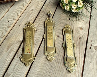 Vintage Brass Plaques - Set of 3 - Brass Plaques - Thermometer Plaques - Temperature Measurement - Graduated Plates - Wall Hanging