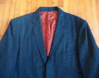 Vintage 60s Black Blue Green Plaid Sport Coat 40