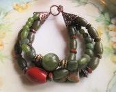 Jade bracelet, boho bracelet, carnelian bracelet, Picasso bracelet, olive bracelet, trending jewelry, gypsy jewelry