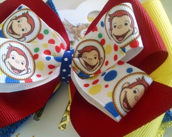 Curious george  inspired  hair bow .  Monkey  Bow hair clip . Curious Monkey headband bow 5 inch . Monkey Headband and  Monkey Bow