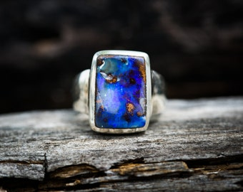 Boulder Opal Ring Size 8.75 - Natural Opal Ring - Opal & Sterling Silver Ring - Ring size 8.75 October Birthstone Ring - Boulder Opal - Opal