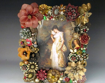 Victorian Floral Picture Frame of Vintage Jewelry in Mauves and Antique Gold for 5 x 7 Image