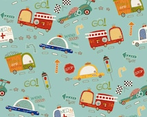 Riley Blake Fabric ~ On Our Way ~ Vehicles Fire Truck Police Car ~ Kids Fabric ~ Boy Fabric ~ Cotton Fabric ~ Quilt Fabric ~ Apparel Fabric