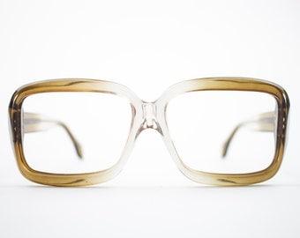 Vintage Eyeglass Frame | Oversized Clear Brown Fade | Square 70s Glasses Frames | Vintage Deadstock | Vintage Style  - Pueblo Brown Fade
