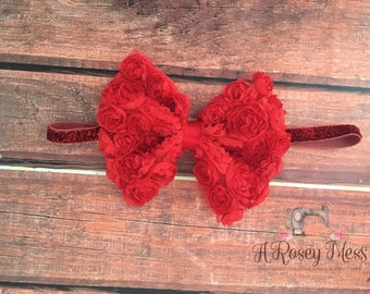 Red Bow Headband- Christmas Headband, Snow White Headband, Valentines Day Headband, Red Headband, Bow Headband, Big Red Bow