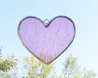 Pink Heart Stained Glass Sun Catcher Tiffany Glass Heart Suncatcher Ready to Ship Valentine Gift Idea