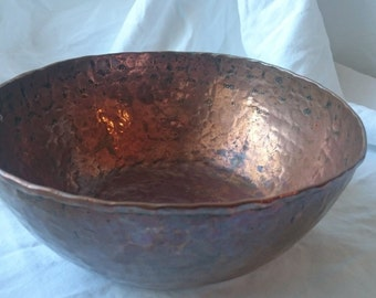 Antique Hand Hammered Copper Metal Mixing or Serving Bowl Early 1900's Original